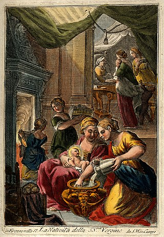 A midwife giving the Virgin Mary her first bath, Anna is vis Wellcome V0015011.jpg