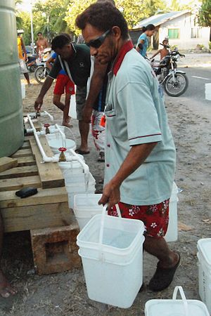 2011 Tuvalu drought - A public water collection point set up on Funafuti in response to the drought, Tuvalu, 2011 (Credit: DFAT)