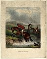 A rider and his horse trying to cross a small stream. Colour Wellcome V0021899.jpg