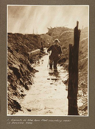 Frank Hurley - Image: A trench in the low flat country near La Bassee Ville (3007144955)