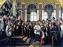 William is proclaimed German Emperor in the Hall of Mirrors in Versailles, France flanked by his only son, Frederick and son in law – Frederick I, Grand Duke of Baden. Painting by Anton von Werner (Source: Wikimedia)