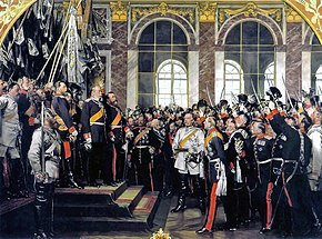 Anton von Werner's patriotic, much-reproduced depiction of the proclamation of Wilhelm I as German emperor in the Hall of Mirrors at Versailles. Bismarck is in the center, wearing a white uniform. (1885) (Source: Wikimedia)