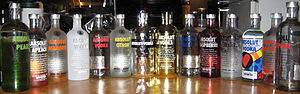 Flavored liquor - A selection of flavored vodkas.