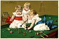 Advertising card depicting infants playing pool and croquet (14312002348).jpg