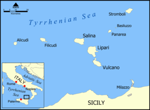 Battle of Mylae - Location of Mylae (Milazzo) on the coast of northern Sicily