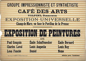 Émile Bernard - Poster of the 1889 Exhibition of Paintings by the Impressionist and Synthetist Group, at Café des Arts, known as The Volpini Exhibition, 1889.