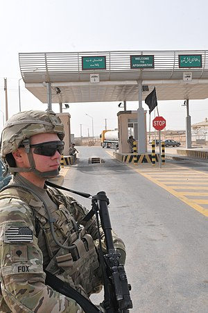 Transport in Afghanistan - Port of entry at Shir Khan Bandar in Kunduz Province of Afghanistan, near the border with Tajikistan.