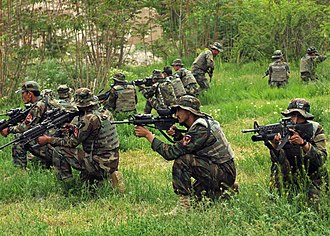 Afghan National Army Commando Corps - 6th Commando Kandak, perform a clearing exercise in Kabul Province.