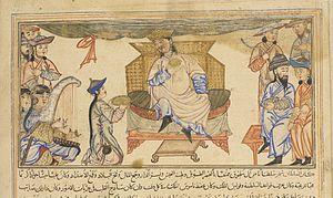 Shah Ghazi Rustam - 14th-century illustration of Ahmad Sanjar and his court.