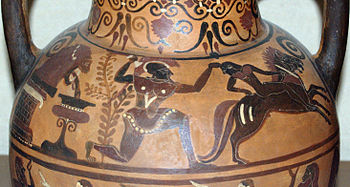 A painted strip running between the handles on the shoulders of a flask. A man wearing a greek-style helmet pulls a naked youth from one of a pair of horses. In the man's other hand is a raised sword. Behind the man, water pours form a lion's head fountain.