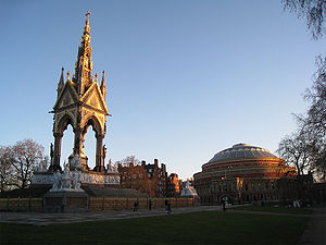 Albert Memorial - The Albert Memorial faces the Royal Albert Hall, built several years after construction began on the Memorial