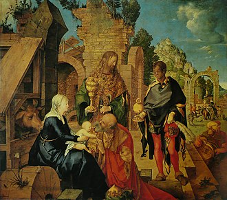Adoration of the Magi (Dürer) - Albrecht Dürer, Adoration of the Magi. 1504. 99 × 113.5 cm. Oil on wood. Uffizi, Florence.