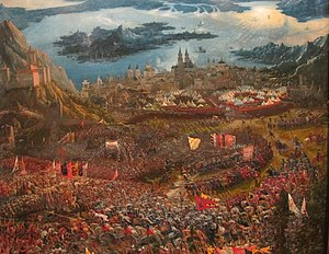Battlefield - The Battle of Alexander at Issus by Albrecht Altdorfer, depicting the Battle of Issus, in 333 BC. Here, the battlefield is depicted as unlevel ground between mountains, in front of the walled city of Issus, Cilicia. The actual location of the battle is debated by historians.