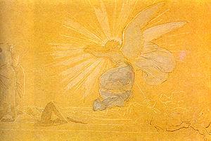Ангел отваливает камень от гроба