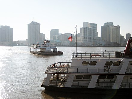 Ferries connecting New Orleans with Algiers (left) and Gretna (right) AlgiersFerry TJefferson arriving3 bright.jpg