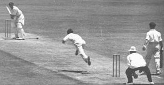 Gubby Allen - Allen bowling to Stan McCabe during the first Test of the 1936–37 Ashes
