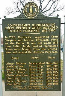 Kentuckys 1st congressional district District in western Kentucky including Henderson, Hopkinsville, Madisonville and Paducah