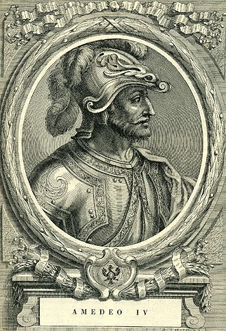 Amadeus IV, Count of Savoy - Etching by Francesco Maria Ferrero di Lavriano (1702)