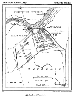 Ameide - Map of the municipality in 1869