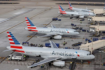 American Airlines aircraft at Phoenix Sky Harbor International Airport. American Airlines aircraft at PHX (N657AW, N837AW, N604AW, N845NN) - Quintin Soloviev.jpg
