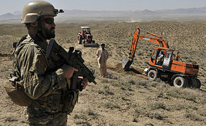 Special Operations Battalion (Albania) - Albanian special operations forces soldier provides security as Afghan Border Police break ground on a checkpoint near the Afghanistan-Pakistan border in the Spin Boldak district of Kandahar province, Afghanistan, March 25, 2013.