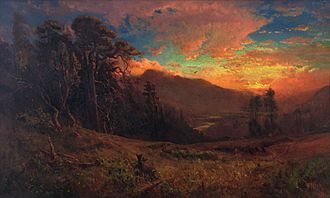 Russian River (California) - An Autumnal Sunset on the Russian River Evening Glow by William Keith, 1878