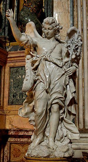 Bernardino Ludovisi - Angel bearing Lilies, Altar of S Luigi Gonzaga in Sant'Ignazio, Rome; c. 1748.