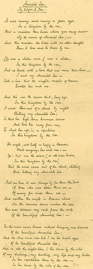 Annabel Lee fair copy Poe 1849