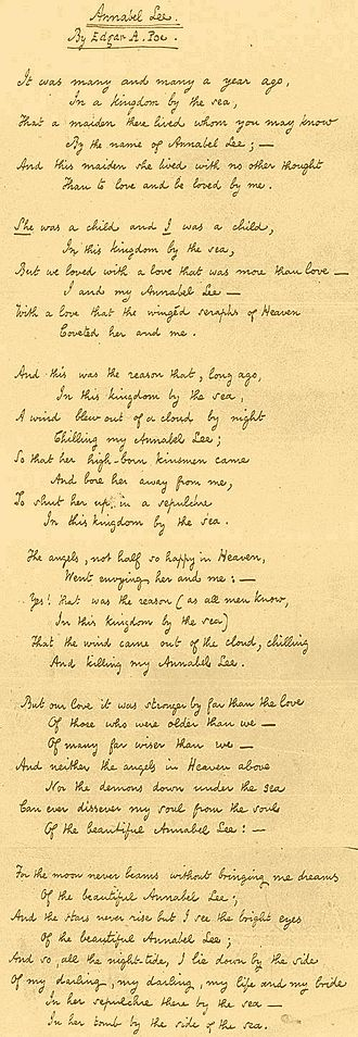 Annabel Lee - 1849 fair copy by Edgar Allan Poe, Columbia University Rare Book and Manuscript Library.