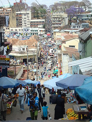 A busy market street in Antananarivo. Taken by...