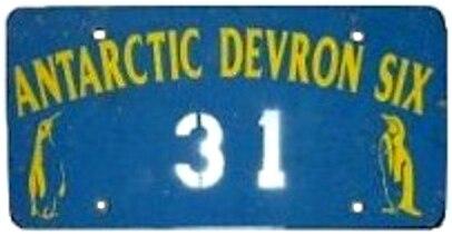 Antarctica license plate Devron Six 31
