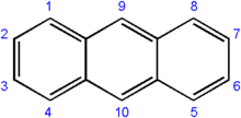 Skeletal formula and numbering system of anthracene