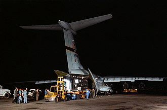 Mobile quarantine facility - The Apollo 11 mobile quarantine facility, with the crew on board, is unloaded from a C-141 aircraft.