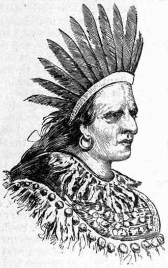 """Shikellamy - Shikellamy's portrait from the Appletons<nowiki>'</nowiki> article on """"Swatane"""""""