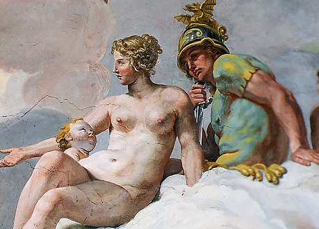 "Aprodite and Ares - Venus and Mars - Ἀφροδίτη Ἄρης - Detail ""Council of the Gods"" in Galleria Borghese.jpg"