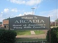 Arcadia, LA welcoming sign IMG 0800.JPG