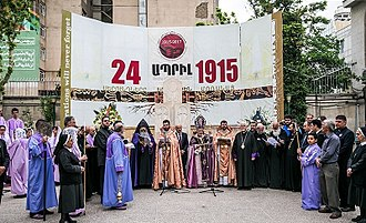 Armenian Genocide recognition - Armenian Genocide Remembrance Day in Saint Sarkis Cathedral, Tehran, 2017