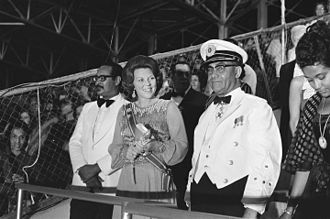 Beatrix of the Netherlands - Henck Arron, Princess Beatrix, and Johan Ferrier during the independence ceremony of Suriname in 1975