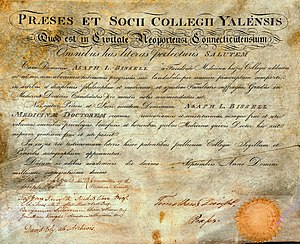 Yale School of Medicine - Yale medical diploma awarded Asaph Leavitt Bissell, Class of 1815, signed by school's four professors and Timothy Dwight IV