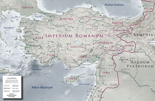 Anatolia in the early 1st century AD with Pontus as a Roman client state Asia Minor in the early 1st century AD - general map - provinces, client states and main settlements - bleached - English legend.jpg