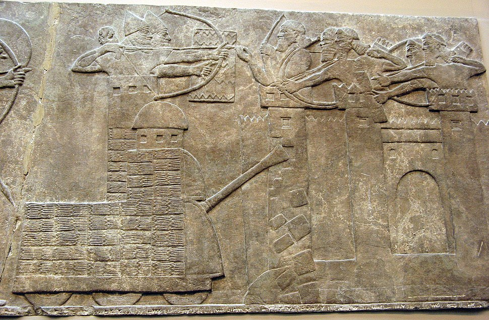 9th century BC relief of an Assyrian attack on a walled town