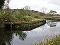 Auchinstarry Bridge quay, Forth and Clyde Canal, Kilsyth, North Lanarkshire. View of wooden quay.jpg