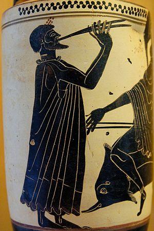 Timotheus (aulist) - a black figure vase depicting an aulos player.