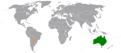 Map indicating locations of Australia and Paraguay