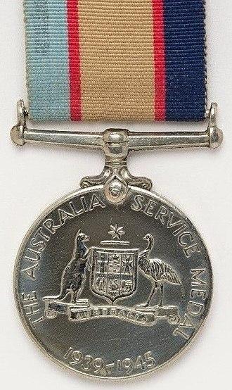 Australia Service Medal 1939–1945 - Image: Australia Service Medal 1939 45. Reverse