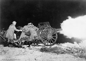 1st Regiment, Royal Australian Artillery - Members of the 1st Field Brigade firing an 18 pounder gun during a night exercise