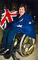 Australian paralympic shooter, Elizabeth Kosmala with the Australian flag (1).jpg