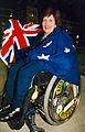 Australian paralympic shooter, Elizabeth Kosmala with the Australian flag (1).jpg