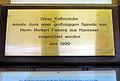 Büttnerstraße 9, Hannover, d2, Werkheim, Tafel Diese Kaffeestube konnte dank einer großzügigen Spende von Herrn Herbert Fiebig aus Hannover eingerichtet werden. Juni 1999.jpg