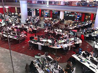 The BBC newsroom at Broadcasting House in London BBC News Room August 2013.JPG